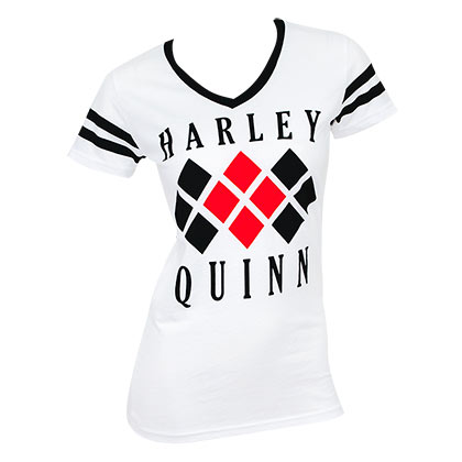 HARLEY QUINN Diamond Logo White Varsity V-Neck Shirt