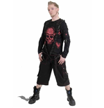 Shirt with bondage straps & red skull