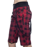 Knee Length black & red plaid Trousers