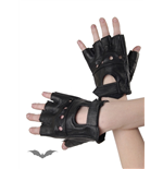 Imitation leather fingerless gloves