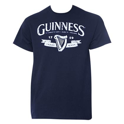 GUINNESS Distressed Navy Blue Tee Shirt
