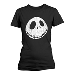 Nightmare Before Christmas Ladies T-Shirt Cracked Face