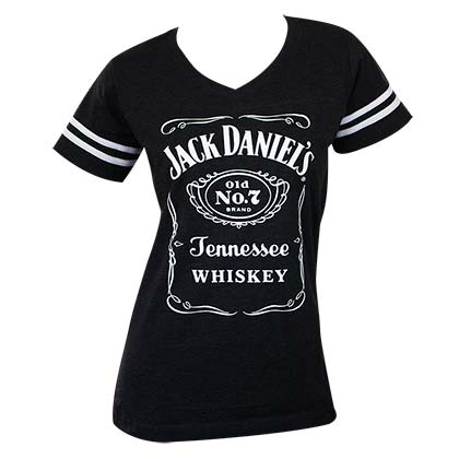 JACK DANIELS Striped Soccer Ladies Tee Shirt
