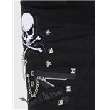 Miniskirt with studded belt and pins