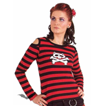 "Black/red striped shirt ""Cat Skull"""