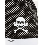 White polka dot top with white skull
