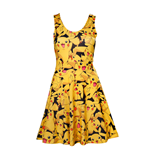 POKEMON Woman's All-over Pikachu Printed Sleeveless Dress, Medium, Multi-colour