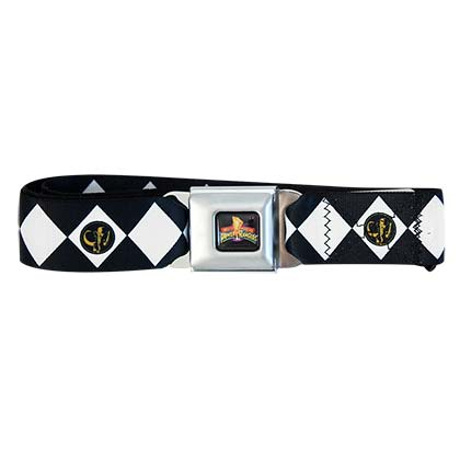 POWER RANGERS Black Seatbelt Buckle Belt
