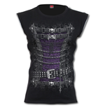 Waisted Corset - Zip Side Ribbed Gothic Ladies Top