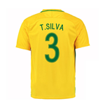 2016-17 Brazil Home Shirt (T.Silva 3) - Kids
