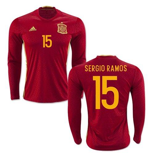 9e7d7bd57 Buy Official 2016-2017 Spain Long Sleeve Home Shirt (Sergio Ramos 15)