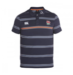 2016-2017 England Rugby Cotton Stripe Polo Shirt (Graphite)
