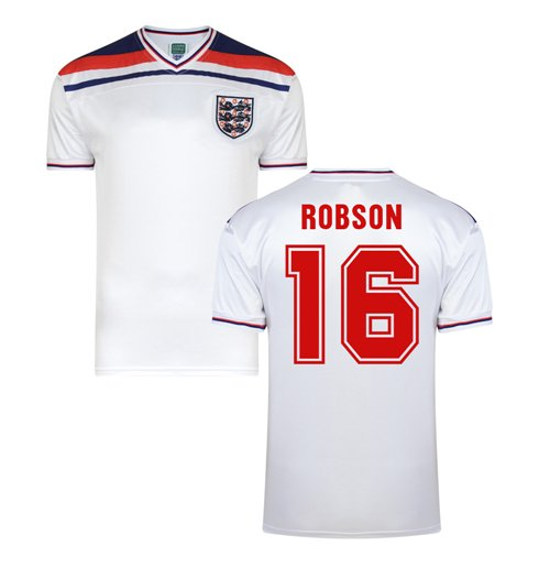 Score Draw England World Cup 1982 Home Shirt (Robson 16)