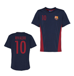 Official Barcelona Training T-Shirt (Navy) (Rivaldo 10)
