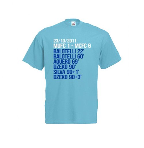 2012 Manchester City 6-1 Winners T-Shirt (Blue)