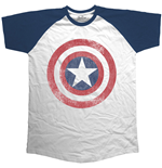 Captain America T-shirt - Raglan Baseball Avengers Assemble Distressed Shield