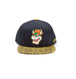NINTENDO Super Mario Bros. Bowser Rubber Patch Snapback Baseball Cap with Animal Print Brim, One Size, Orange/Black