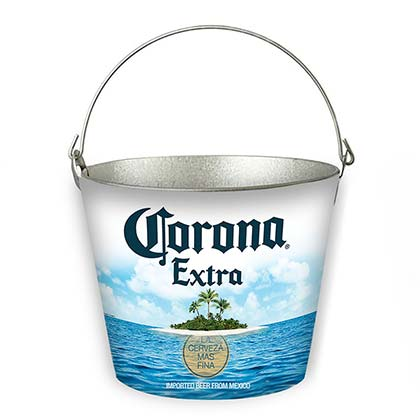 CORONA EXTRA Island Beach Scene Beer Bucket With Built In Bottle Opener