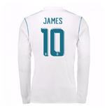 2017-18 Real Madrid Long Sleeve Home Shirt - Kids (James 10)