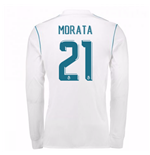2017-18 Real Madrid Long Sleeve Home Shirt - Kids (Morata 21)