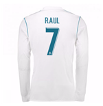 2017-18 Real Madrid Long Sleeve Home Shirt - Kids (Raul 7)
