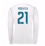 2017-18 Real Madrid Long Sleeve Home Shirt (Morata 21)