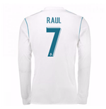2017-18 Real Madrid Long Sleeve Home Shirt (Raul 7)