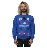 Star Wars Men's Christmas Dark Side Fair Isle Sweatshirt Royal Blue