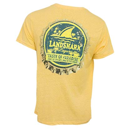 LANDSHARK Beer Bottle Cap Yellow Tee Shirt