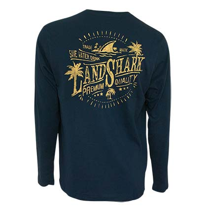 LANDSHARK Save Water Navy Blue Long Sleeve Tee Shirt
