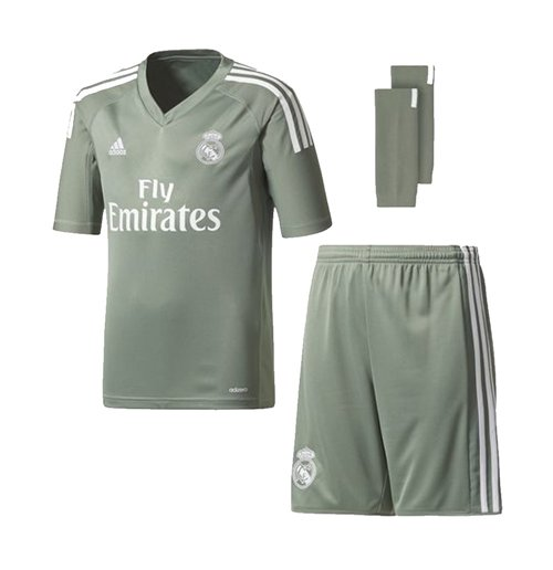 newest 7525d cc10c 2017-2018 Real Madrid Adidas Home Goalkeeper Full Kit (Kids)