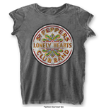 The Beatles Ladies Fashion Tee: Sgt Pepper Drum with Burn Out Finishing