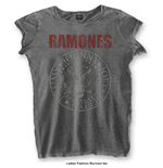 Ramones Ladies Fashion Tee: Presidential Seal with Burn Out Finishing