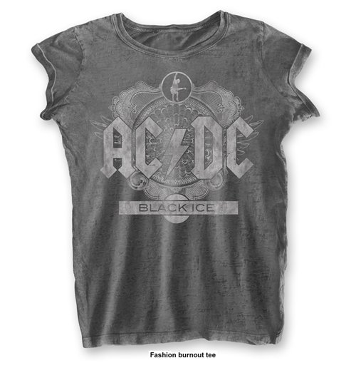 AC/DC Ladies Fashion Tee: Black Ice with Burn Out Finishing