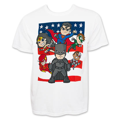 JUSTICE LEAGUE Cartoon White Tee Shirt