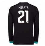 2017-18 Real Madrid Away Long Sleeve Shirt - Kids (Morata 21)