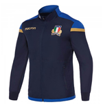 2017-2018 Italy Macron Rugby Full Zip Travel Top (Navy)