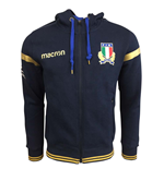 2017-2018 Italy Macron Rugby Full Zip Hooded Sweatshirt (Navy)