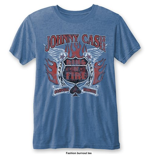 Johnny Cash Men's Fashion Tee: Ring of Fire with Burn Out Finishing