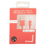 URBAN FACTORY Lightning to USB 2.0 Sync and Charge Cable, 1m, Red