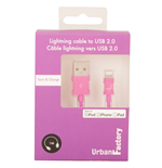 URBAN FACTORY Lightning to USB 2.0 Sync and Charge Cable, 1m, Purple