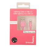 URBAN FACTORY Lightning to USB 2.0 Sync and Charge Cable, 1m, Pink