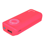 URBAN FACTORY Emergency Pocket Universal Rechargeable 5600mAh Battery with LED Battery Level Indicator and Torch for Portable Devices, 2.1A Output, Pink