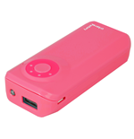 URBAN FACTORY Emergency Pocket Universal Rechargeable 4400mAh Battery with LED Battery Level Indicator and Torch for Portable Devices, 1.5A Output, Pink