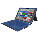 URBAN FACTORY Elegant Imitation Leather Folio with Enlarged Stand for Microsoft Surface 3, Navy