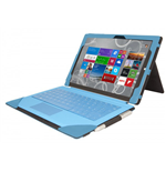 URBAN FACTORY Elegant Imitation Leather Folio with Enlarged Stand for Microsoft Surface 3, Blue