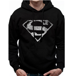 Superman - Mono Distressed Logo - Unisex Hooded Sweatshirt Black