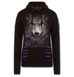 Wolf Roses - Large Hood Ripped Hoody Purple-Black