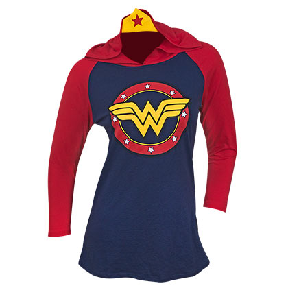 WONDER WOMAN Raglan Hoodie With Crown