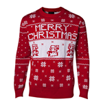 NINTENDO Super Mario Bros. Men's Knitted Pixel Mario Merry Christmas Sweater, Extra Large, Red